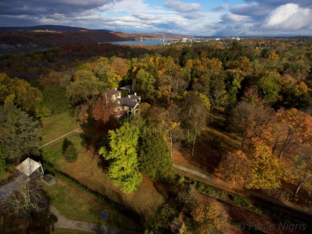 Aerial view of the Locust Grove Estate, in Poughkeepsie, New York.