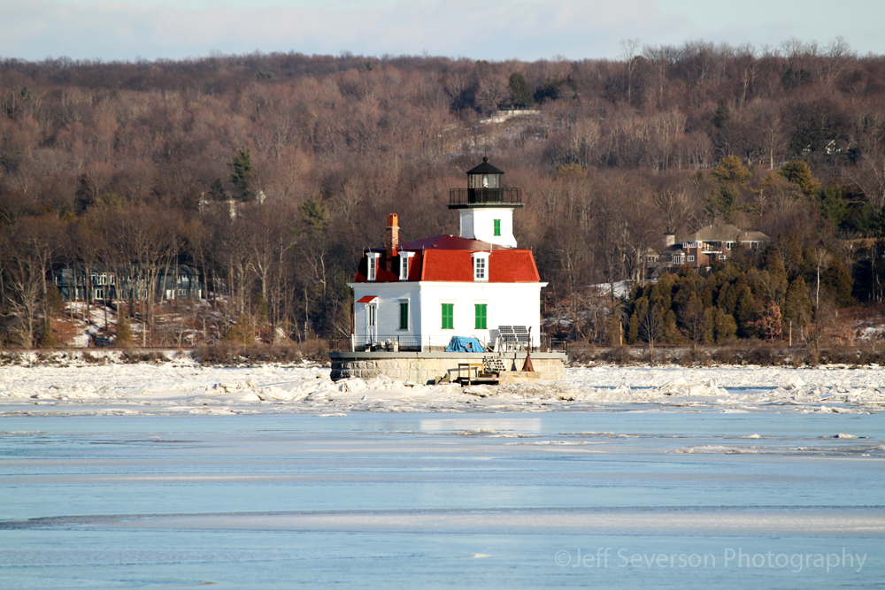 Esopus Meadows Lighthouse, seen on the Hudson River, in Winter. Photo taken by Jeff Severson