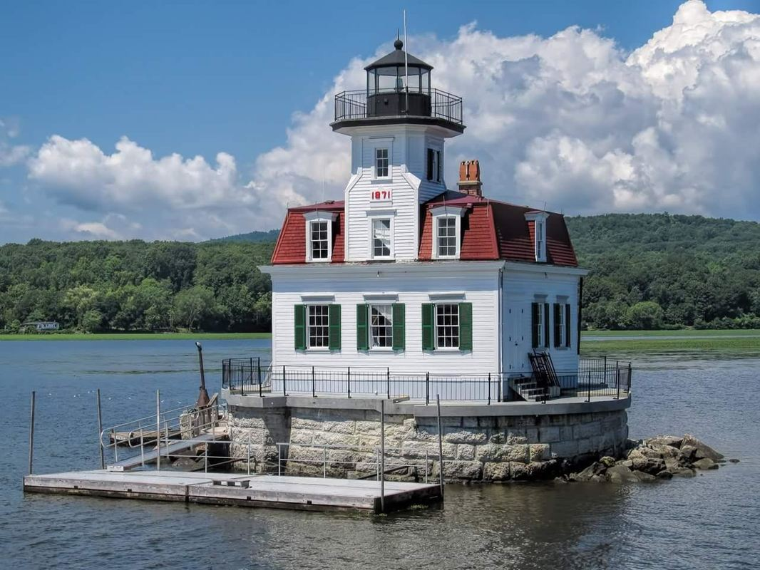 View of the Esopus Meadows Lighthouse on the Hudson River, in New York State.