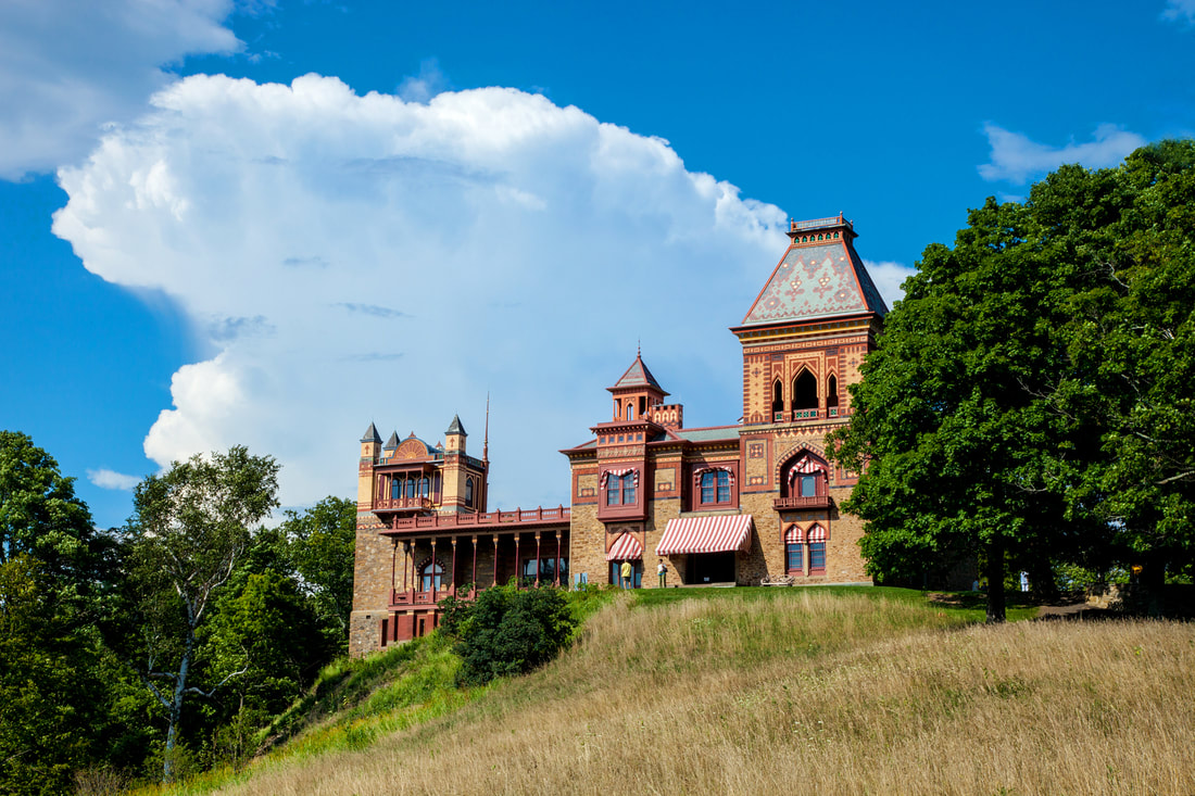 View of the Main House at Olana from the Summer House Location photo by Beth Schneck Photography.